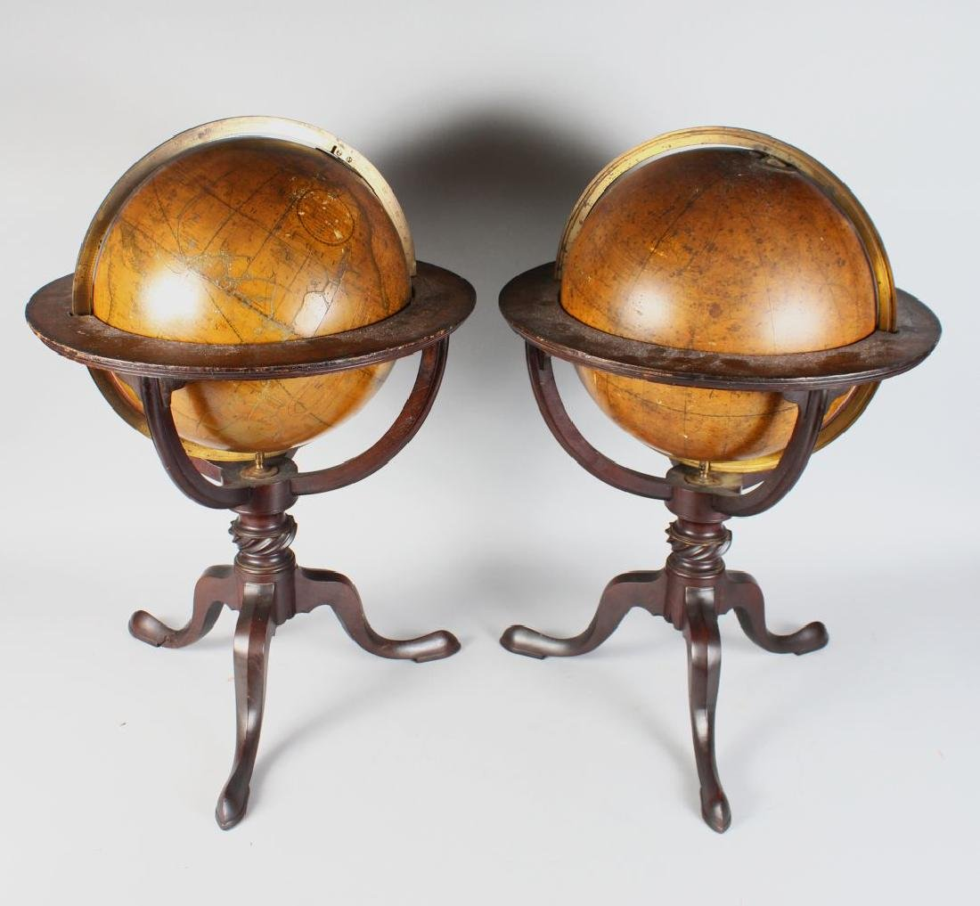 A GOOD PAIR OF GEORGIAN TABLE GLOBES by J. W. CAREY,