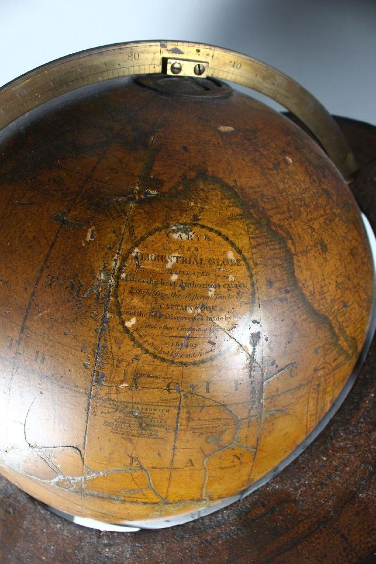A GOOD PAIR OF GEORGIAN TABLE GLOBES by J. W. CAREY, - 2