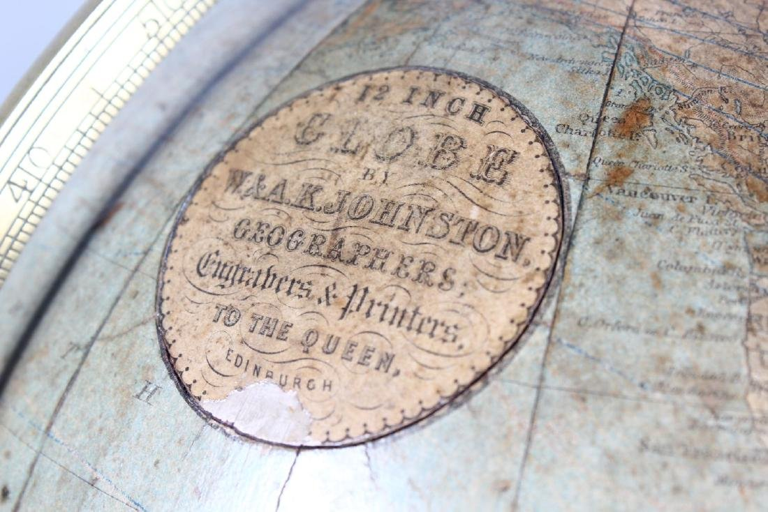 A GOOD 19TH CENTURY TABLE GLOBE BY W. & A.K. JOHNSTON, - 4