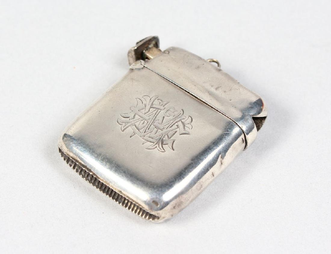 A SILVER VESTA CASE with cigar cutter.  Birmingham