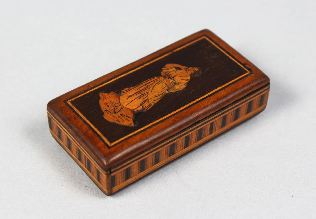 AN ITALIAN INLAID WOOD VESTA, the top inlaid with a