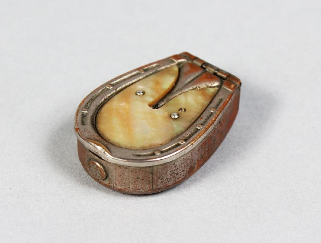 A PLATED SILVER HORSESHOE VESTA with mother-of-pearl