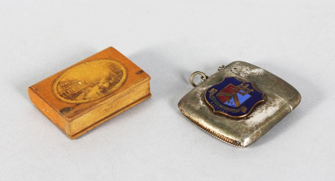 A PLATED VESTA, with a crest Margate, and a treen vesta