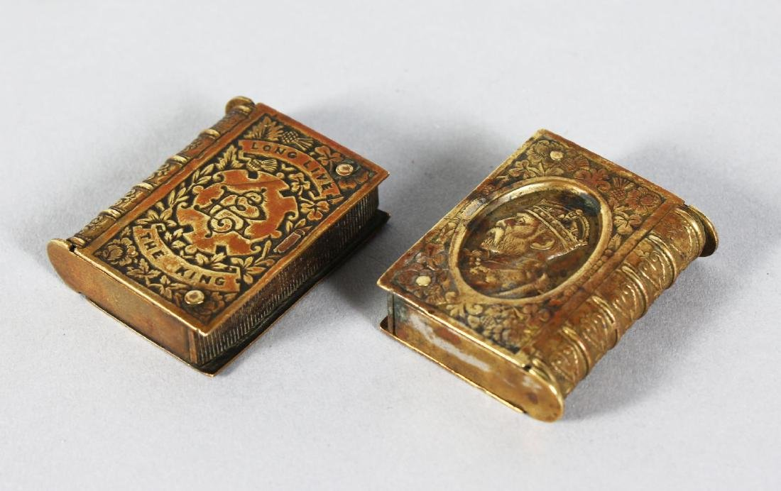 """TWO SILVER PLATE BOOK SHAPED VESTAS.  """"LONG LIVE THE"""