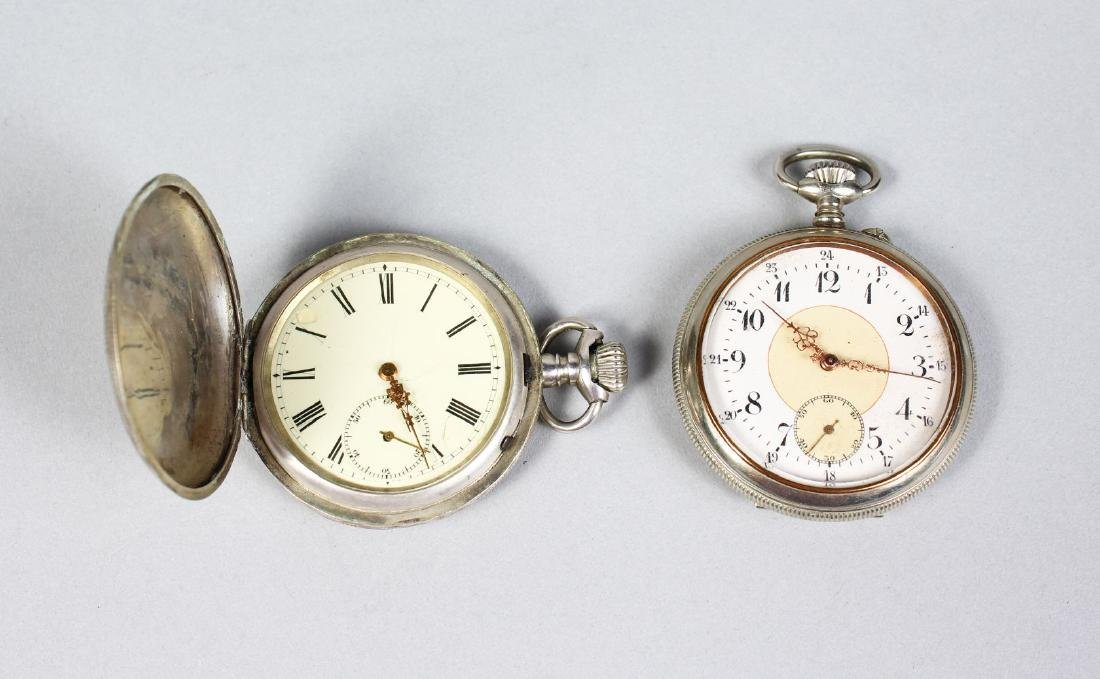 TWO ENGRAVED POCKET WATCHES.