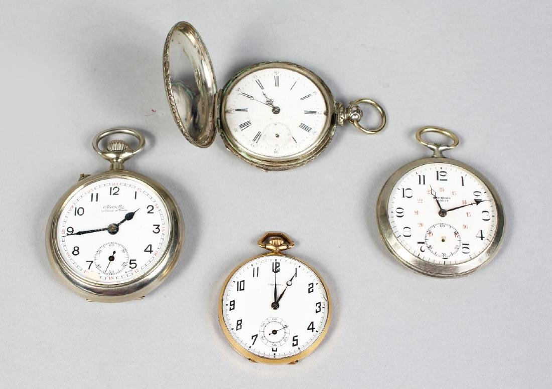 FOUR VARIOUS POCKET WATCHES.