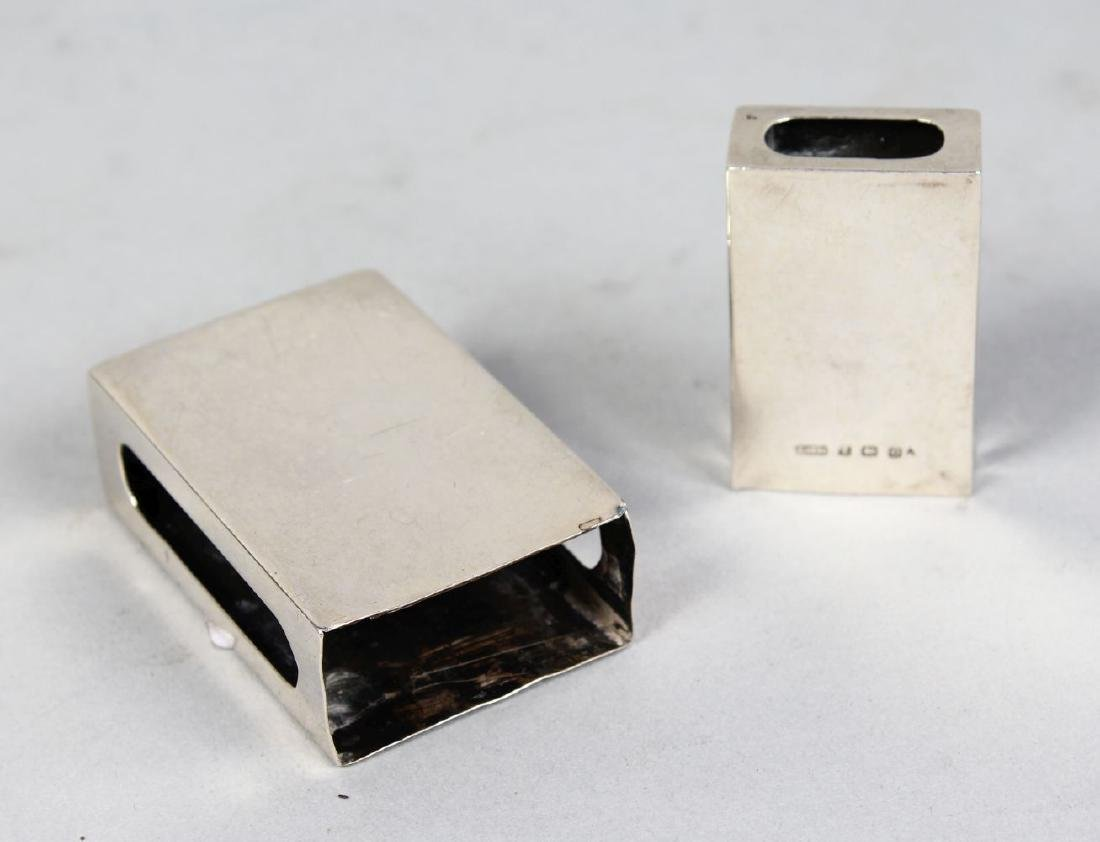 TWO SILVER MATCHBOX HOLDERS.  Birmingham 1913 and 1921.
