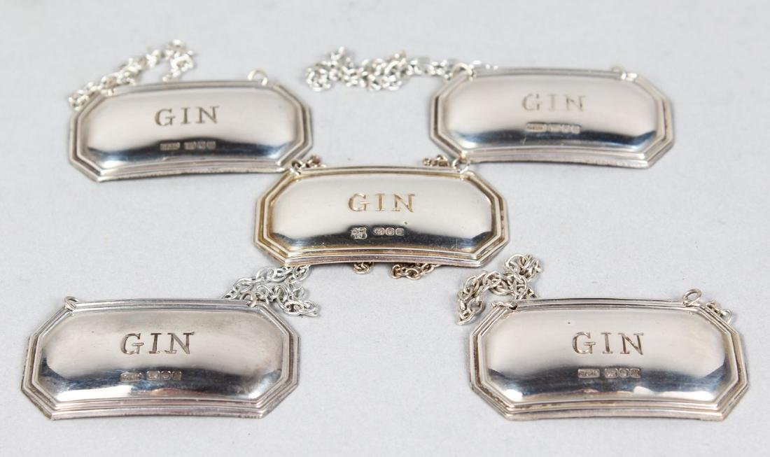 FIVE SILVER DECANTER LABELS, Gin.