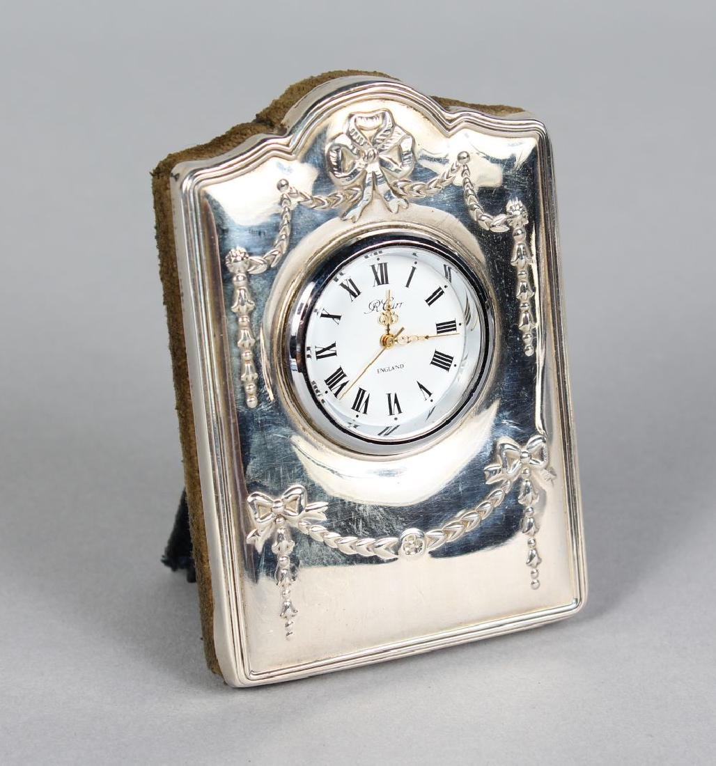 A SILVER MOUNTED EASEL CLOCK CASE AND CLOCK.  3.5ins