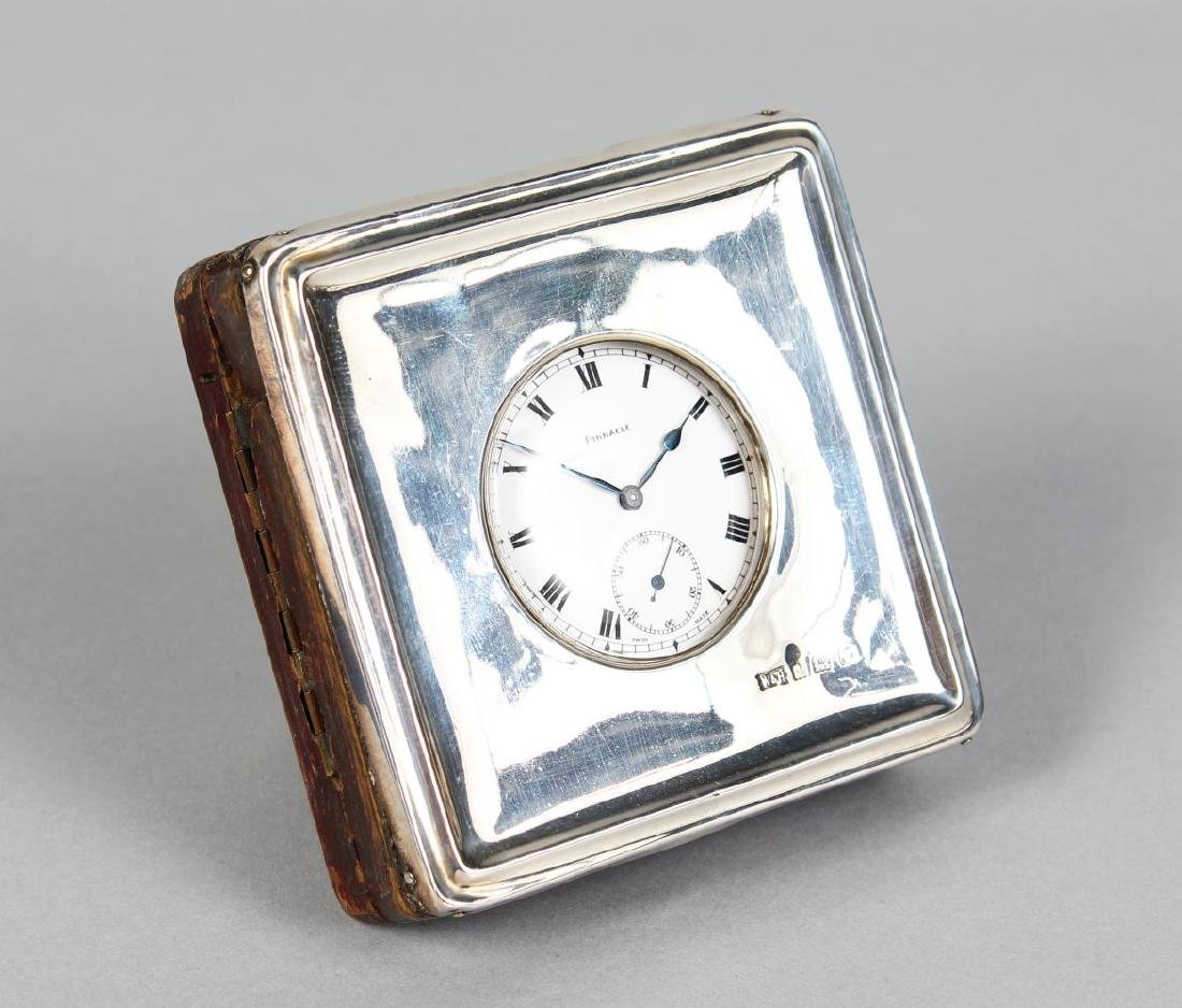 A WALKER & HALL SILVER SQUARE WATCH CASE AND WATCH.