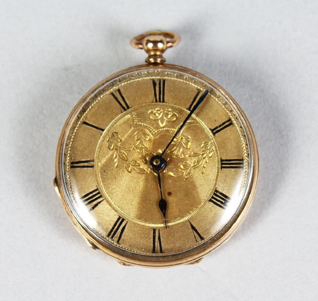 A LADIES ENGRAVED GOLD FOB WATCH.