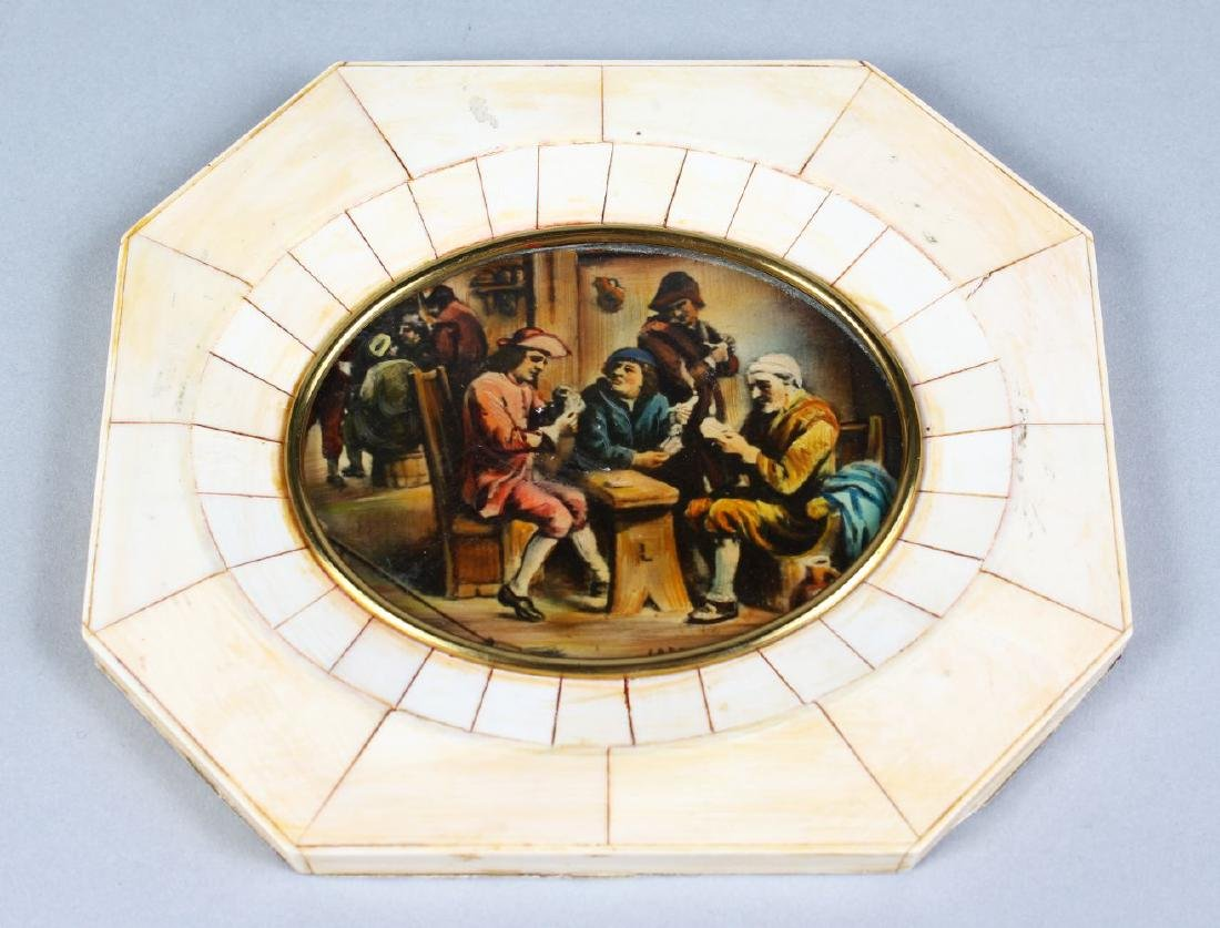 AN OCTAGONAL MINIATURE, AFTER TENIERS.