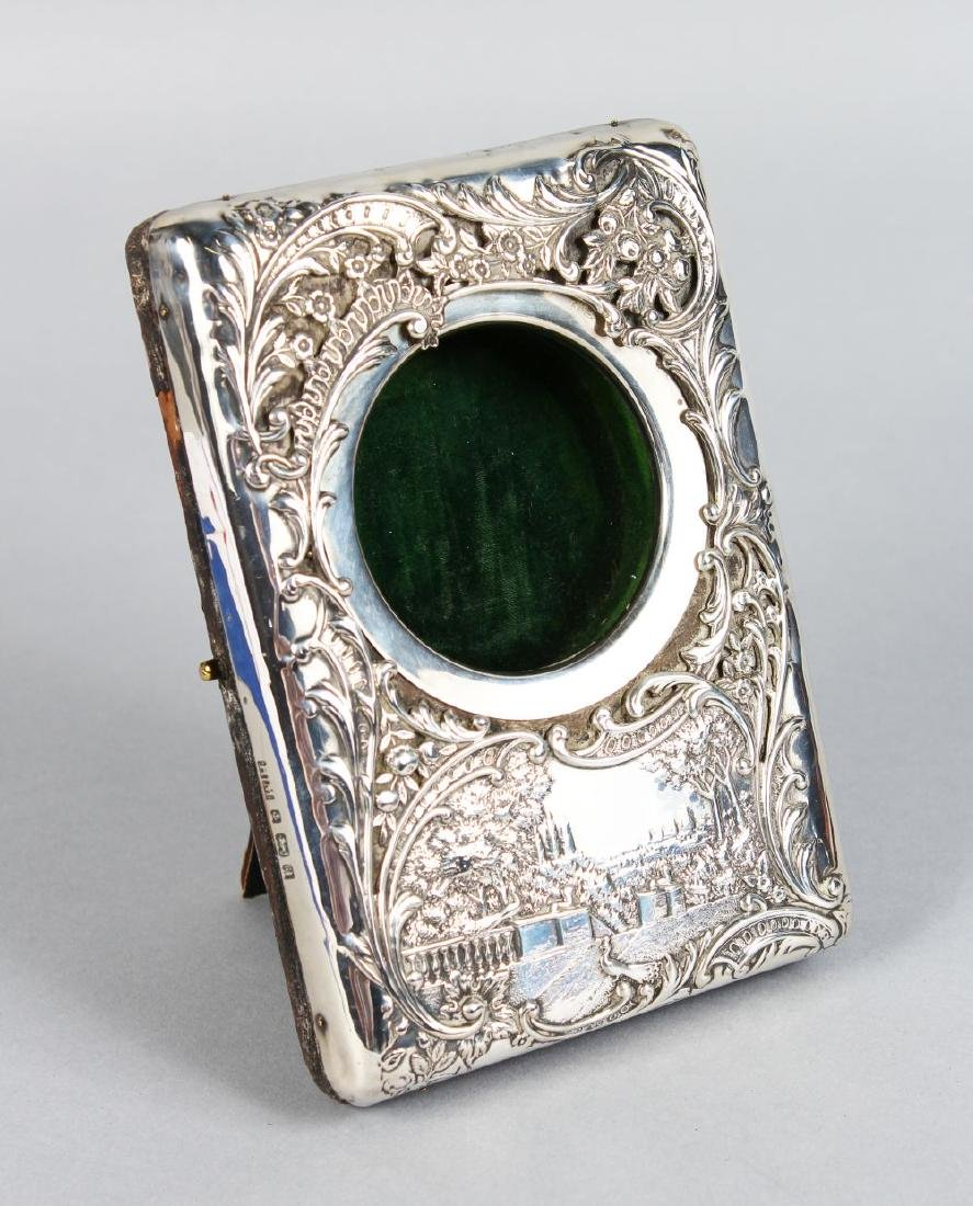 A GOOD VICTORIAN LEATHER AND SILVER WATCH CASE with