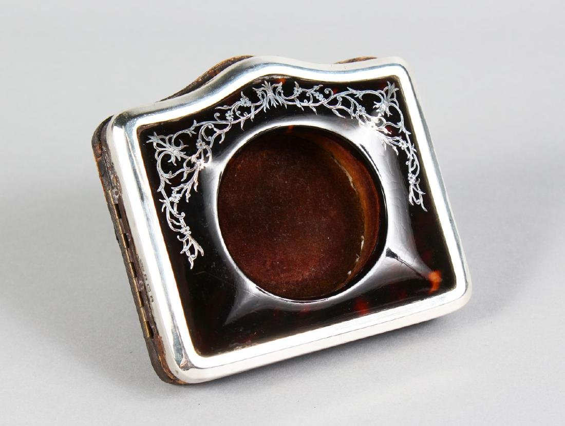 A GOOD TORTOISESHELL AND SILVER WATCH CASE with