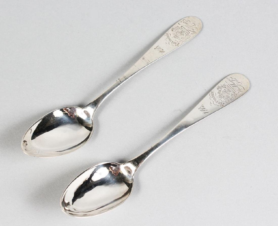 A PAIR OF ENGRAVED CONTINENTAL SPOONS.