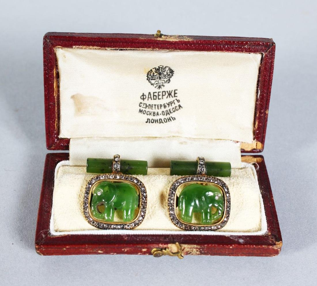 A GOOD PAIR OF FABERGE GOLD, DIAMOND AND JADE CUFFLINKS
