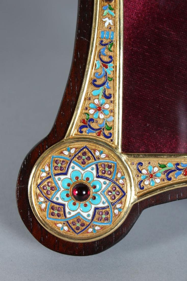 A GOOD RUSSIAN SILVER AND ENAMEL SHAPED PHOTOGRAPH - 2
