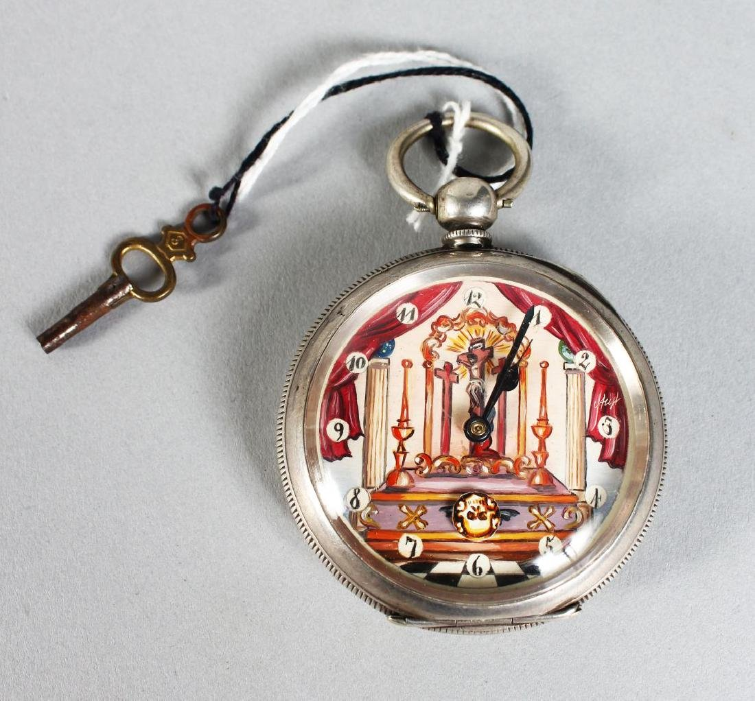 A .800 SILVER ENGRAVED AND PAINTED POCKET WATCH.
