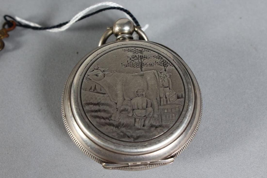 A .800 SILVER ENGRAVED AND PAINTED POCKET WATCH. - 2