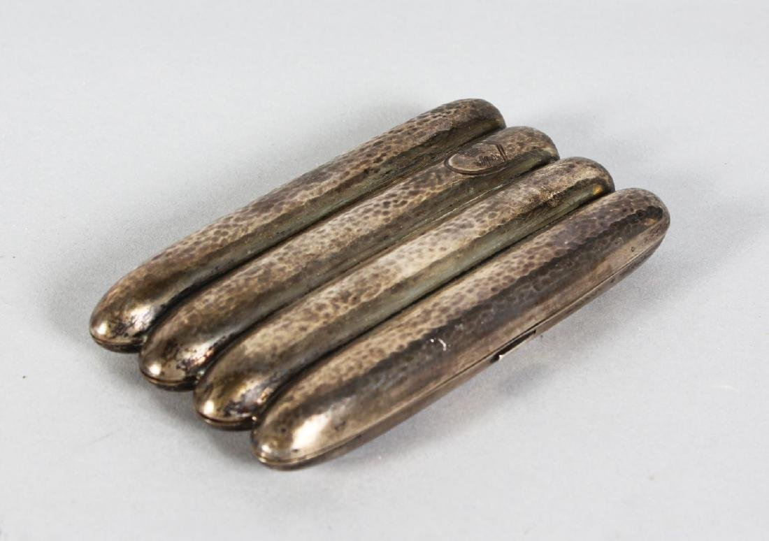 A FOUR SECTION SILVER CIGAR CASE.