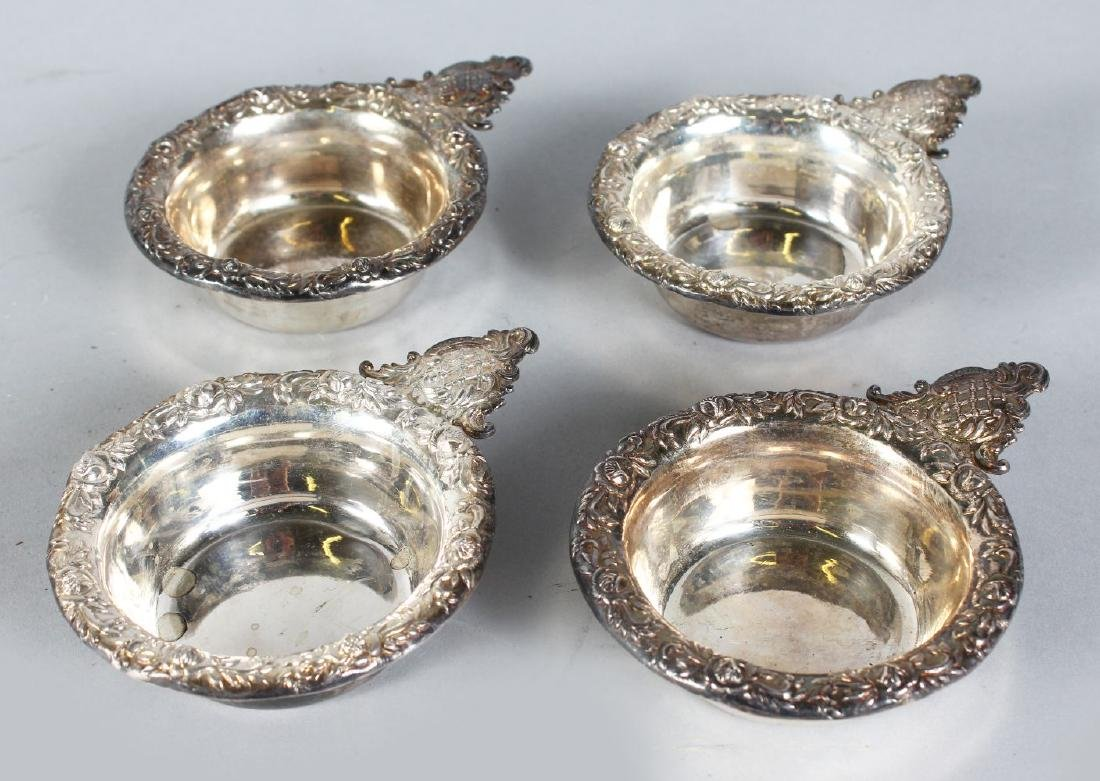 FOUR STERLING SILVER PORRINGERS.