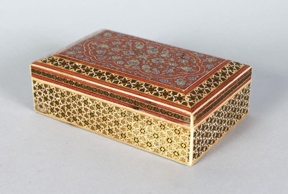 AN ISLAMIC MOSIAC BOX, 6ins x 4ins.