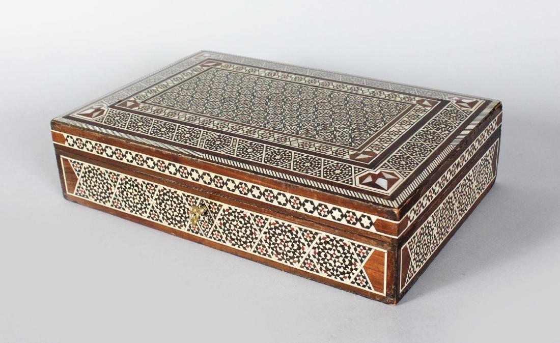 AN ISLAMIC MOSIAC BOX, 11.5ins x 7.5ins.
