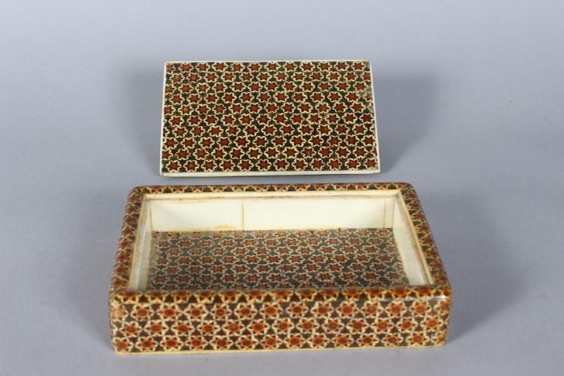 AN ISLAMIC MOSIAC BOX, 6.5ins x 4ins. - 2