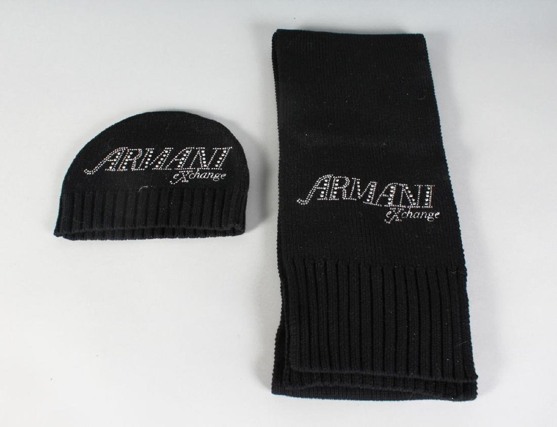 AN ARMANI SCARF and HAT.