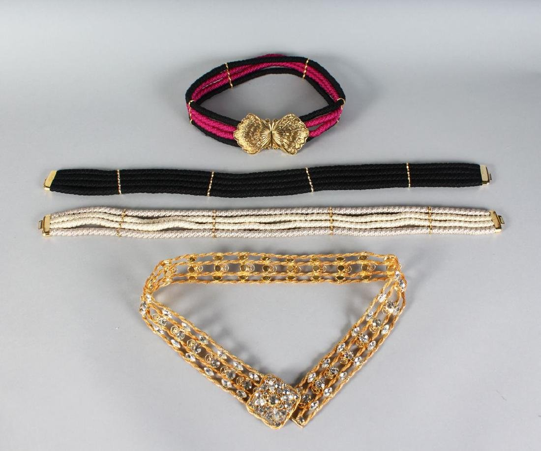 FOUR BELTS, one metal with crystal stone and three with