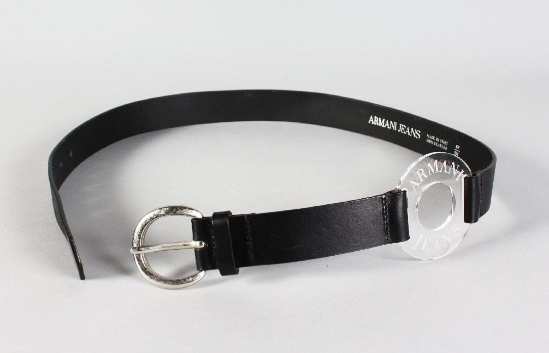 ARMANI JEANS BLACK LEATHER BELT.