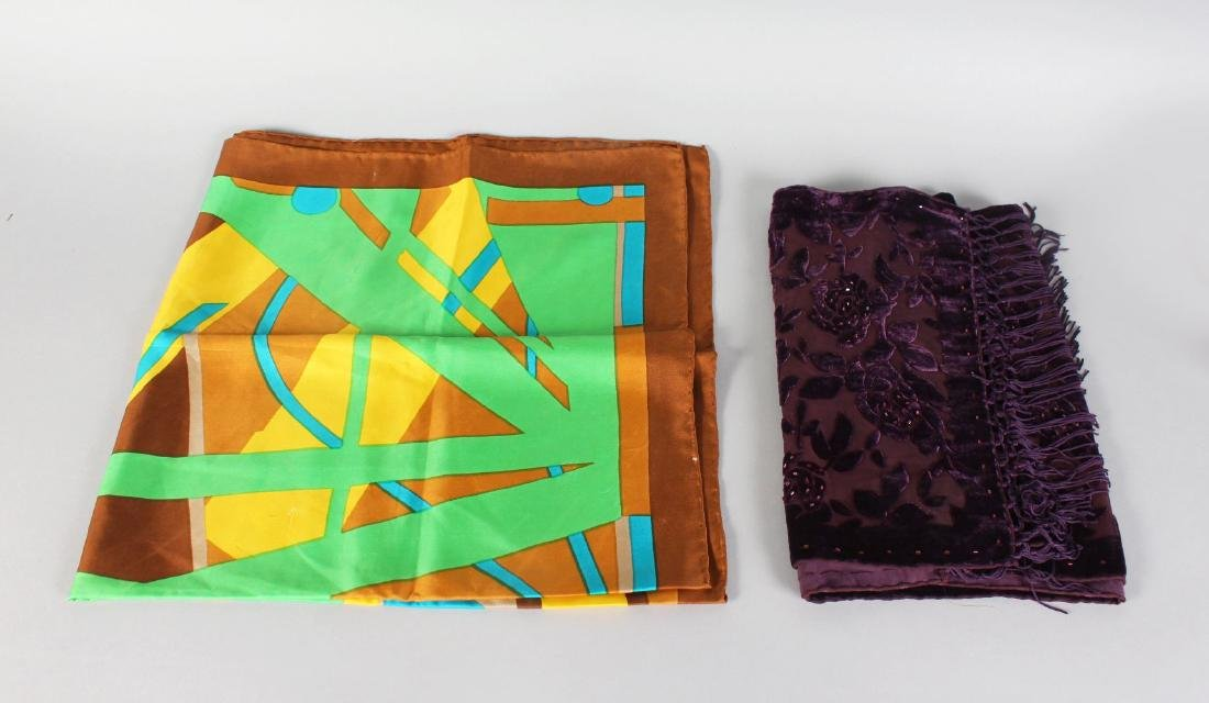 A COLOURFUL SILK SCARF and a MAUVE VELVET SCARF.