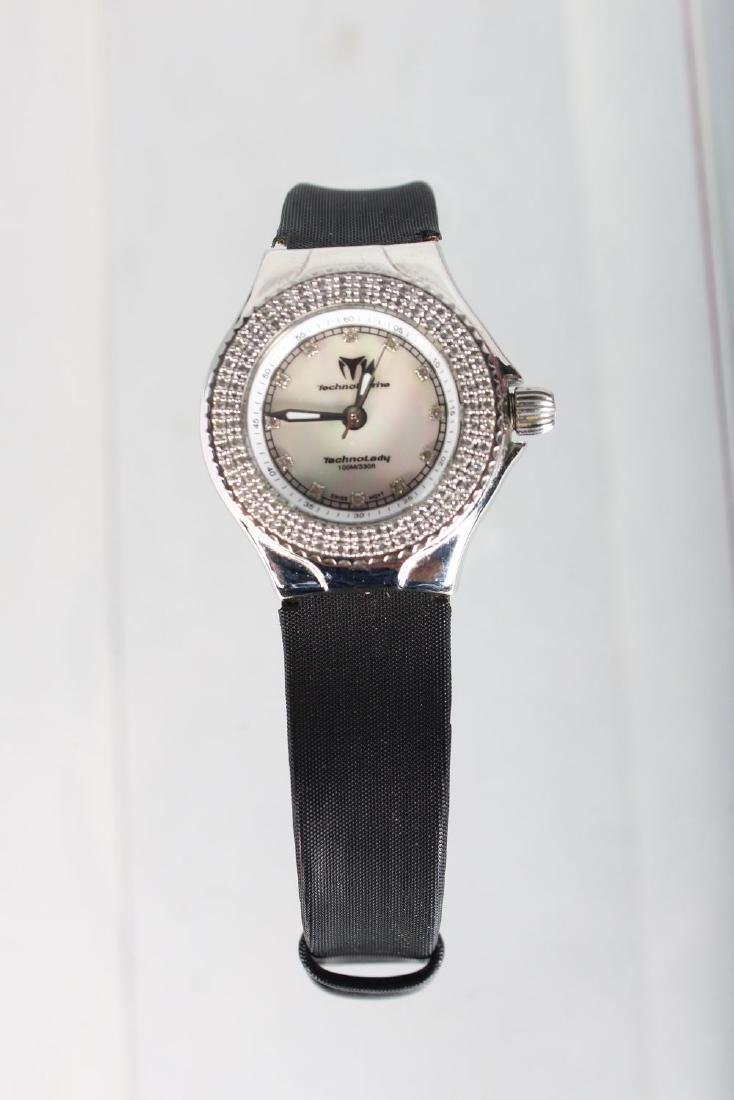 A LADIES RUSSIAN DIAMOND SET WRISTWATCH with leather - 2