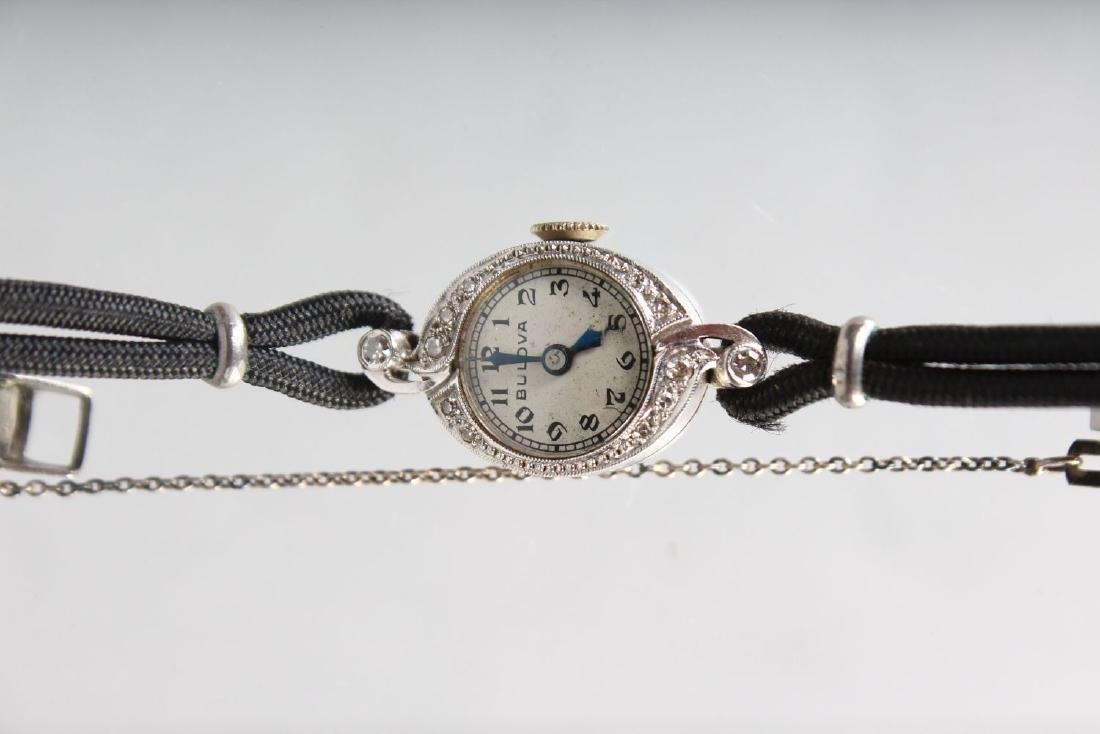 A LADIES 14CT GOLD DIAMOND SET WRISTWATCH. - 2