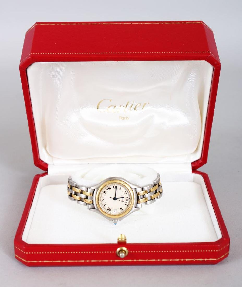 A LADIES' CARTIER STEEL AND GOLD WRISTWATCH  in - 2