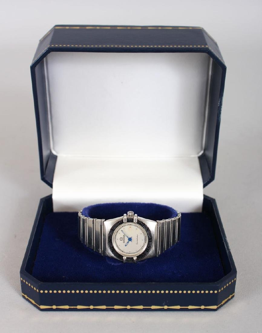 A LADIES' STEEL OMEGA CONSTANTIN WRISTWATCH in blue - 2