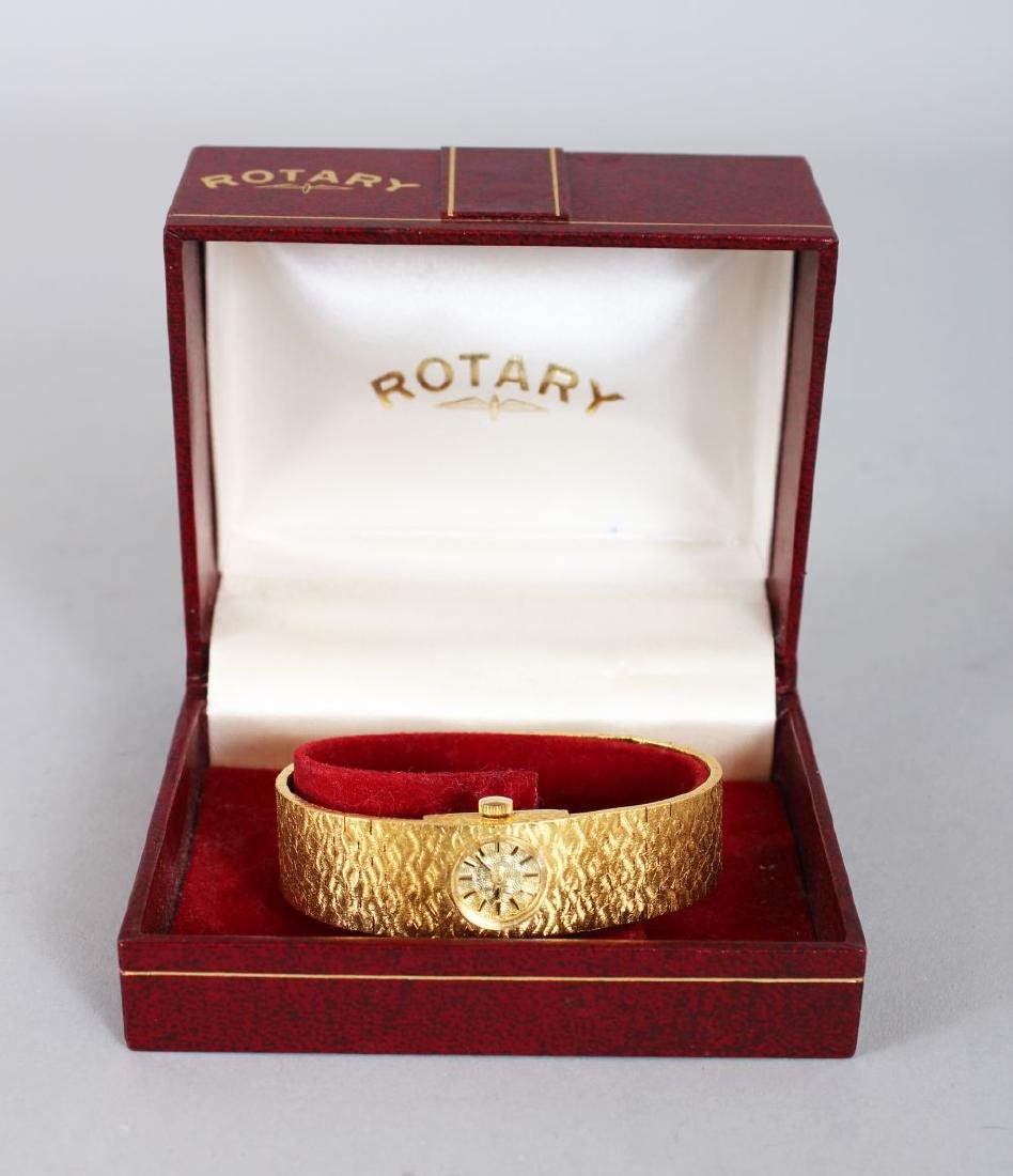 A LADIES' GILT ROTARY WRISTWATCH, boxed.