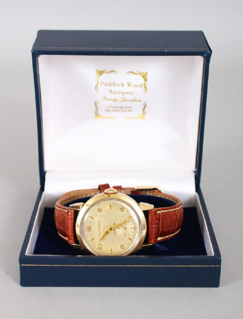 A GENTLEMAN'S MOVADO WRISTWATCH with leather strap,