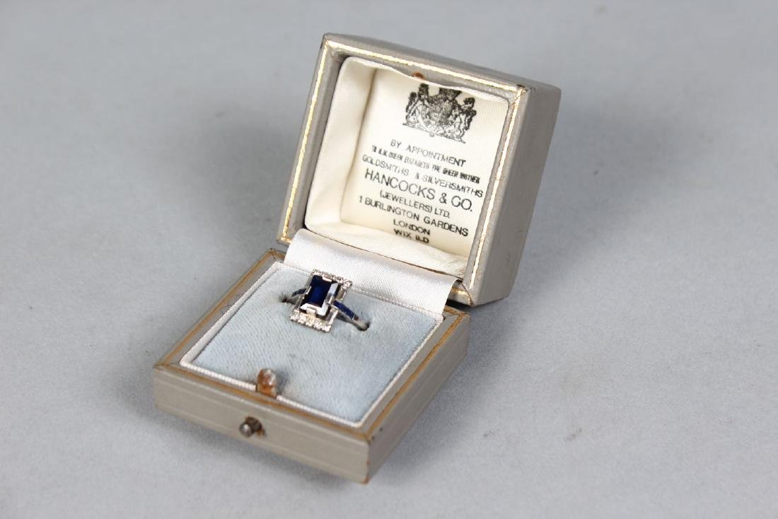 AN 18CT WHITE GOLD, SAPPHIRE AND DIAMOND RECTANGULAR - 2