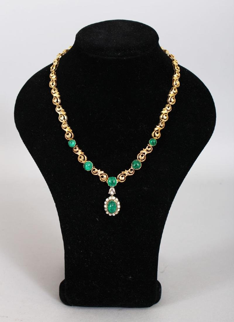 A SUPERB 18CT GOLD CABOCHON AND EMERALD SET NECKLACE