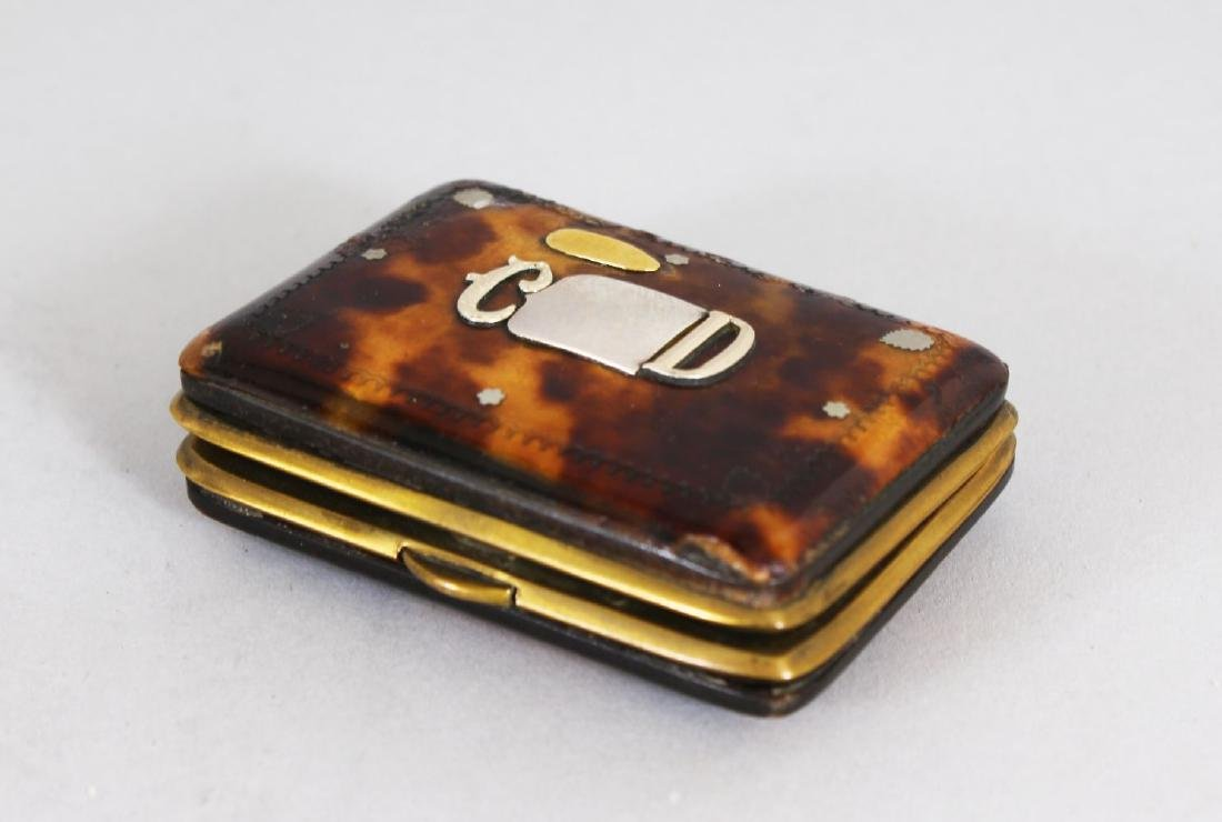 A VICTORIAN TORTOISESHELL AND SILVER PURSE with gold