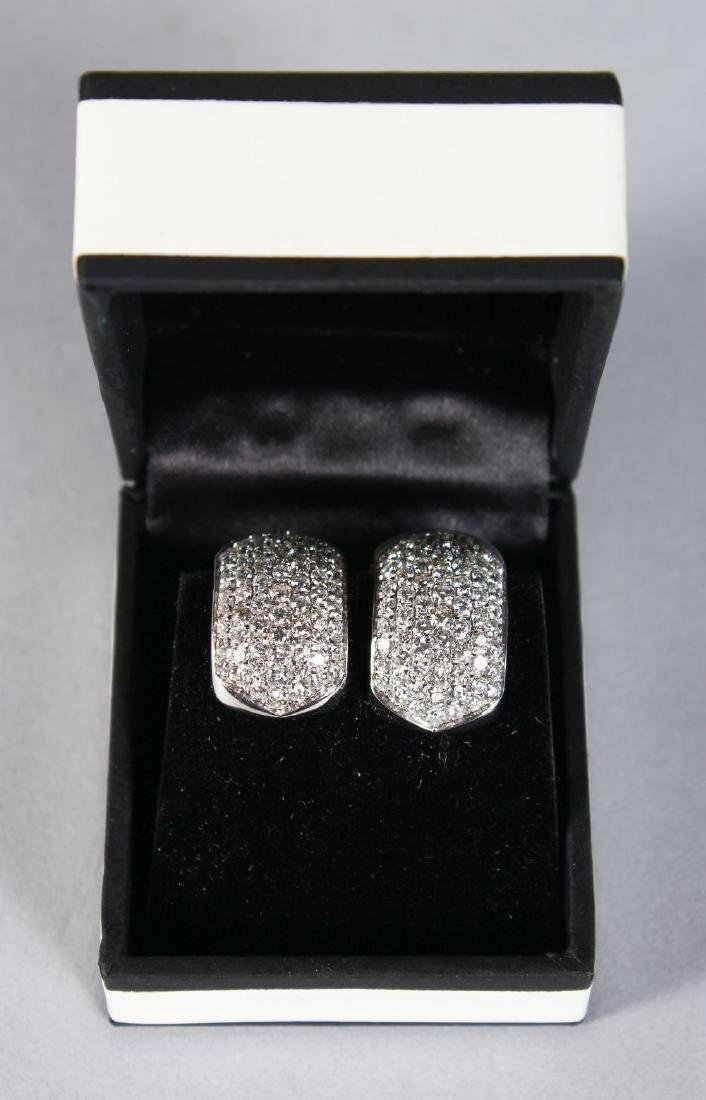 A PAIR OF 18CT WHITE GOLD IMPRESSIVE HOOP STYLE DIAMOND