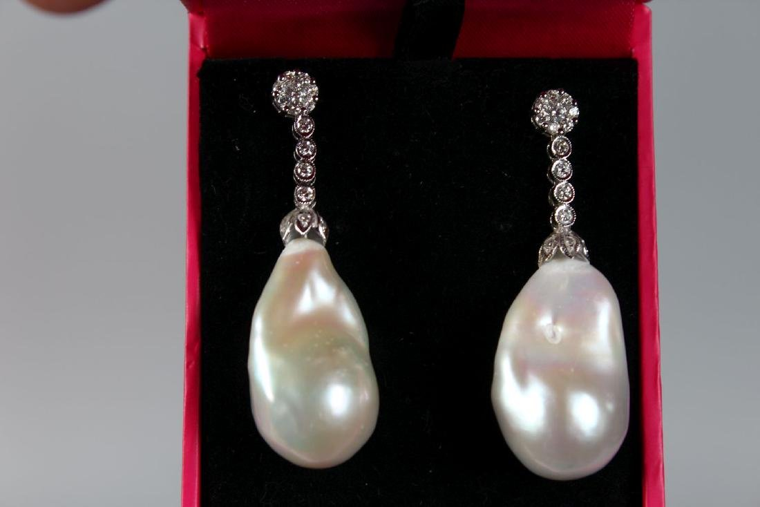 A PAIR OF FINE QUALITY BAROQUE PEARLS WITH DIAMOND - 2