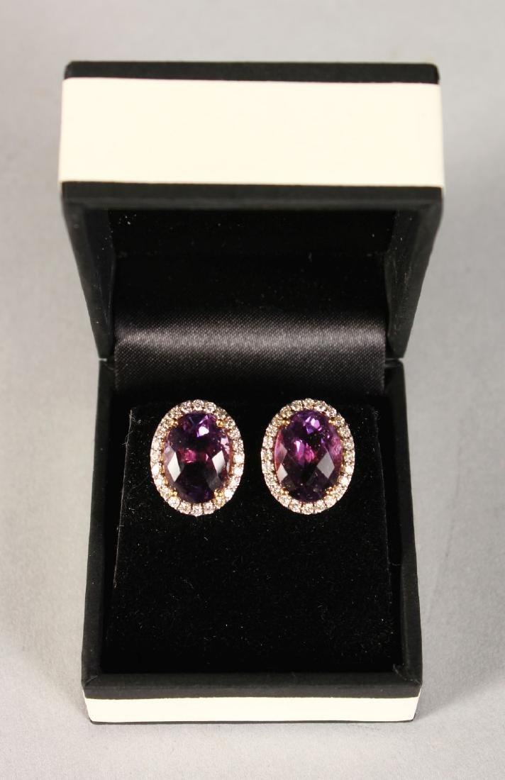 A PAIR OF EXCELLENT 18CT YELLOW GOLD AMETHYST AND