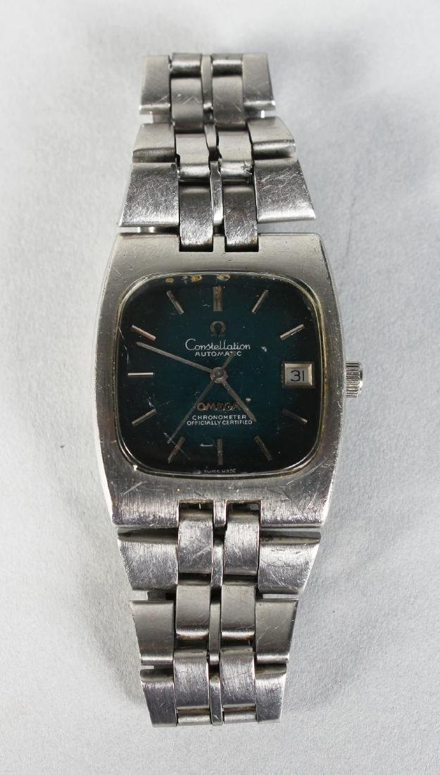 A STEEL CASED OMEGA CONSTELLATION AUTOMATIC WATCH with