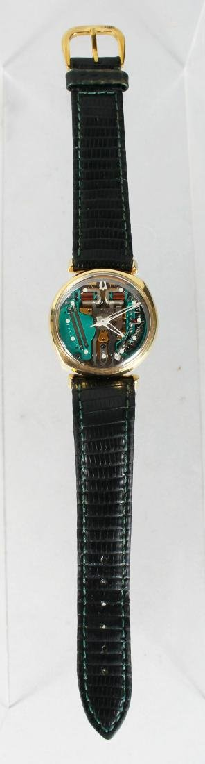 A 14CT YELLOW GOLD BULOVA ACCUTRON WATCH ON LEATHER - 2