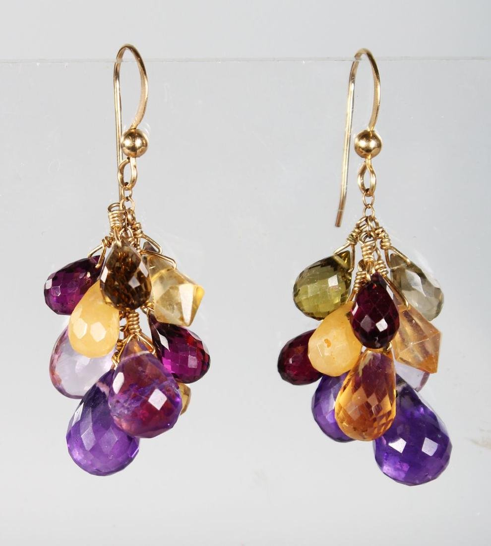 A PAIR OF GOLD AND AMETHYST DROP EARRINGS.