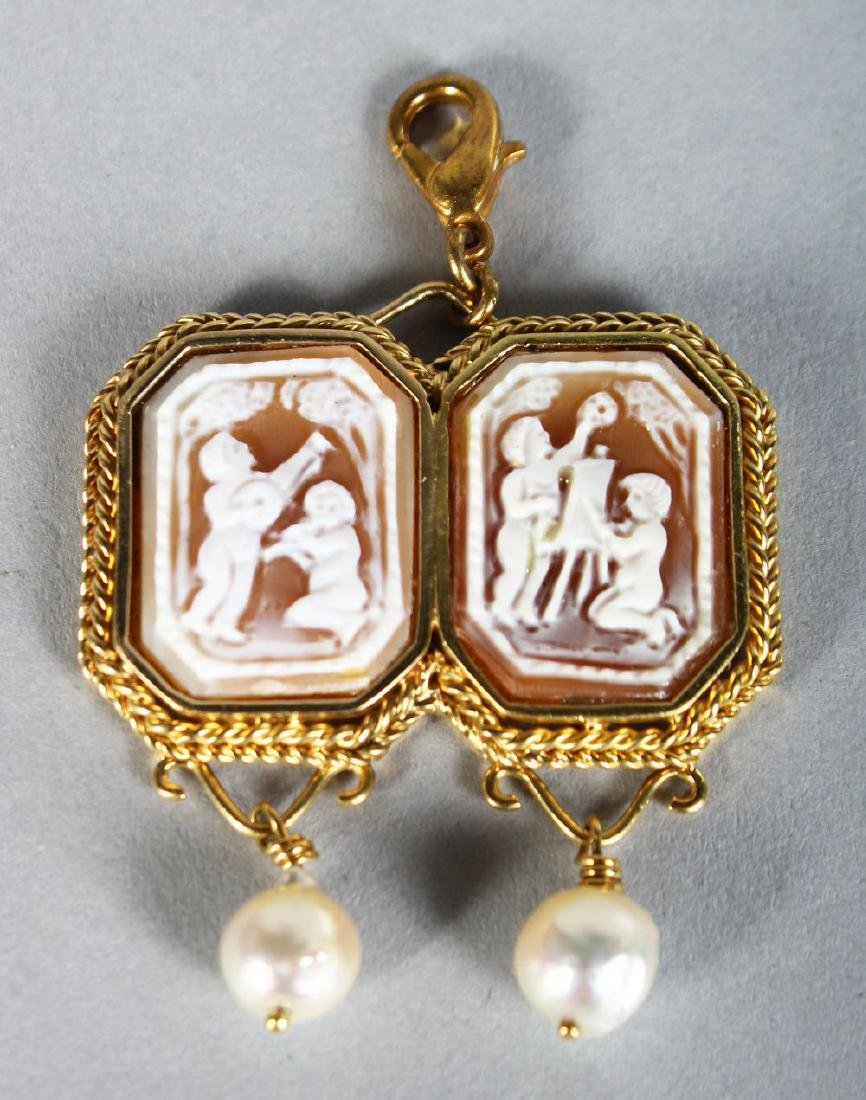 A VERY GOOD GOLD DOUBLE CAMEO AND PEARL BROOCH.