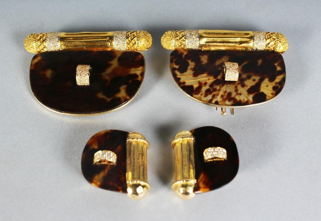 A VERY GOOD SUITE OF GOLD AND TOIRTOISESHELL JEWELLERY