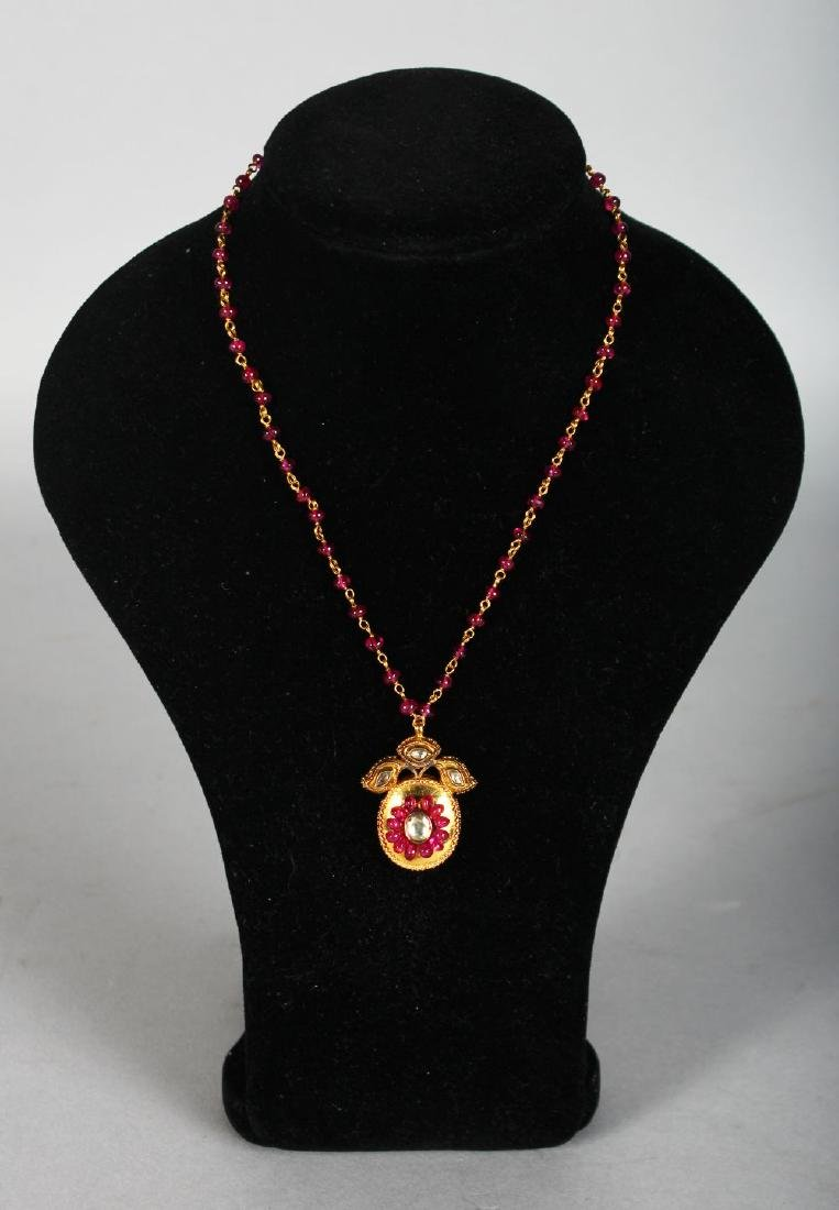A SUPERB VICOTRIAN GOLD, RUBY AND DIAMOND PENDANT AND